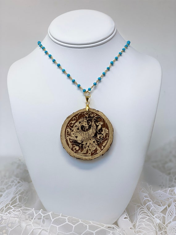 """The Arabesque® Engraved Medieval Pegasus Horse Arabesque Natural Wood Pendant with Turquoise Stone and 24k Gold Plated 30"""" Rosary Chain"""