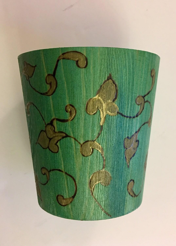 Mid-Summer Nights Dream Collection - 5 x 5 inch Wooden Flower Pot Holder;  Pencil Holder; Desktop Decor; Garden Kitchen Home decor; arabesque