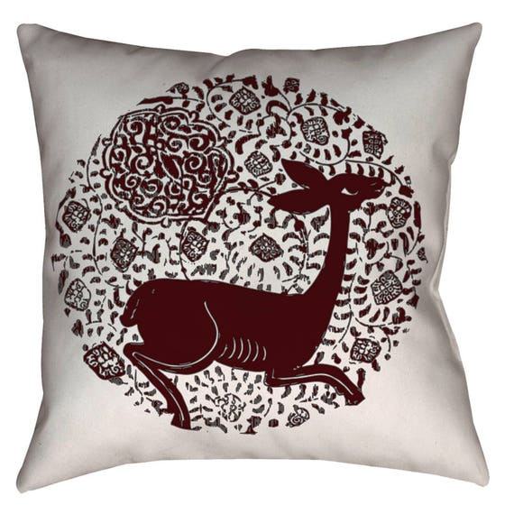 Zen Collection - Spanish Bunny Medieval Valencian Hart Red Deer And Arabesque Design Decor Pillow (Red)