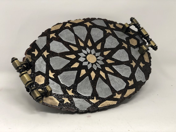 The Arabesque® Wooden Decorative Tray With Medieval Islamic and Mamluk Egyptian and Syrian Geometric Pattern. Wood burned and Handpainted.