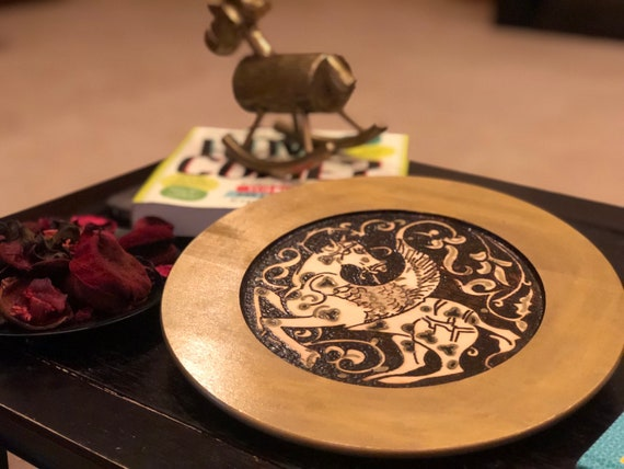 Wooden Decorative Plate (11.5 inches) With Woodburned Medieval Seljuk Pegasus Motif