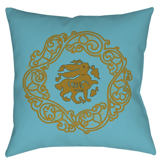 Arabesque Obsession - Medieval Art Design Home Decor Bunny Pillow In Light Blue And Gold