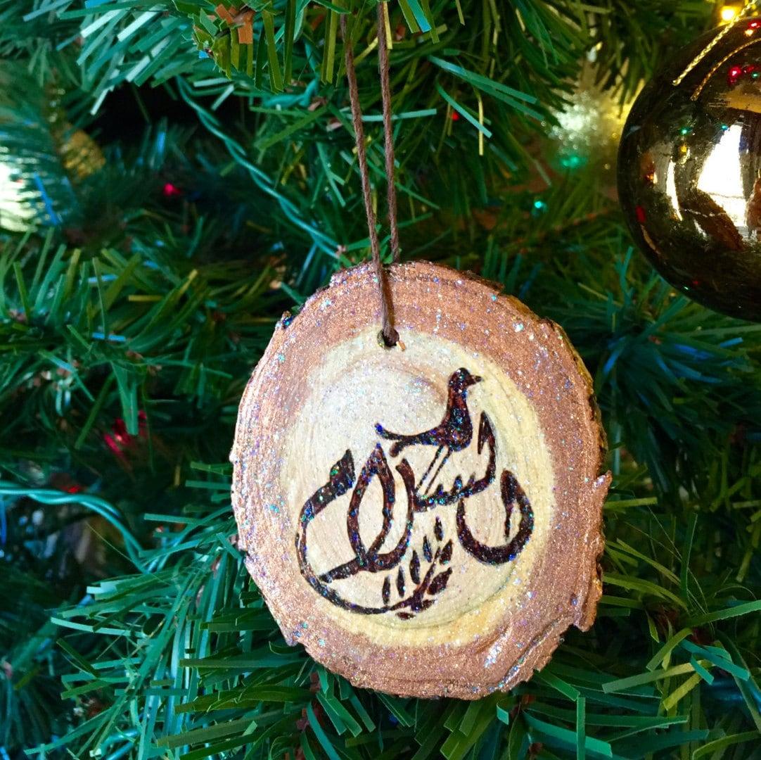 Christmas Ornament Peace Symbol Pendant Wooden Pendant Tree