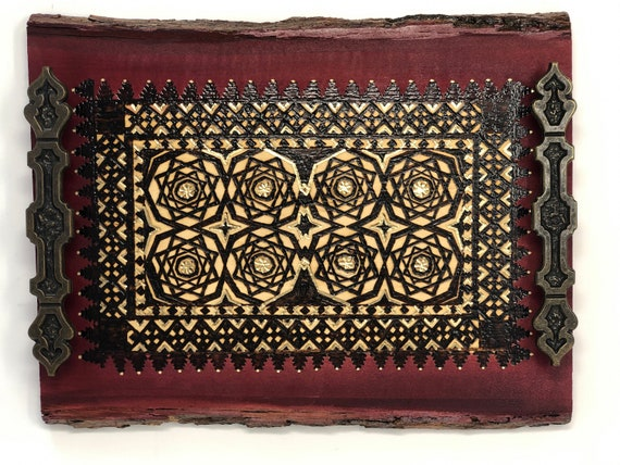 The Arabesque® Handmade and Handcrafted Wooden Decorative Coffee Table Tray With A Historical Nasrid Arabesque Pattern From Medieval Spain