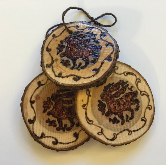 Bunny Christmas Ornament; Medieval hares; tree slice pendant; mystical necklace; Islamic art; organic wooden jewelry; ornaments