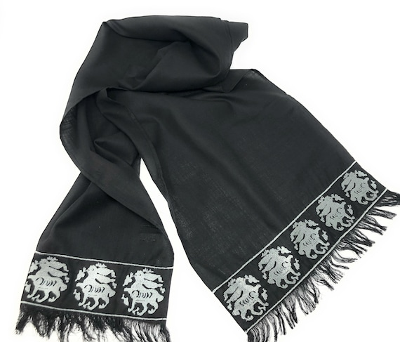 The Arabesque Black Cotton Linen Blend Silver Embroidered Medieval Bunny Scarf
