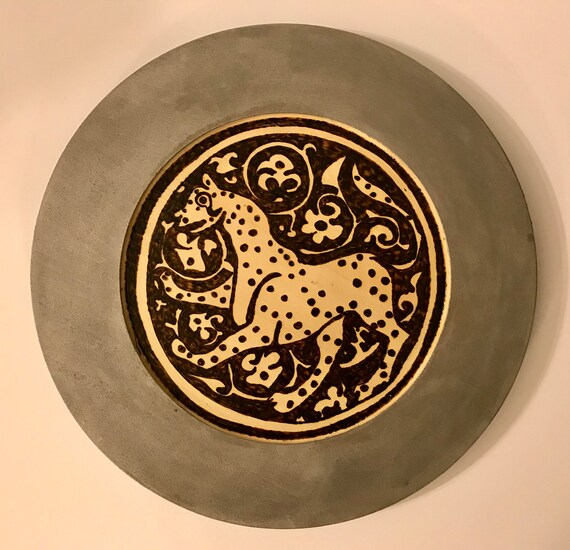 Medieval Islamic Lioness On Antique Silver Wooden Decorative Plate. Seljuk Art Woodburned - Handcrafted Home Decor By The Arabesque
