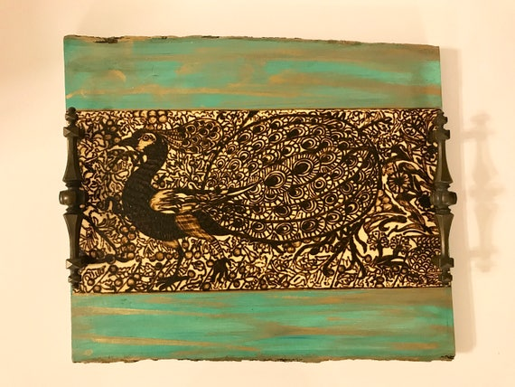 Handmade and Handcrafted Peacock Arabesque Decorative Wooden Coffee Table or Ottoman Tray. Inspired By The Ceramic Art Of William De Morgan.