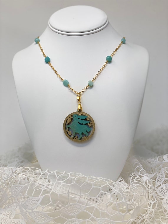 """The Arabesque® Wooden Engraved Medieval Fatimid Bunny Arabesque Woodcut Pendant with 30""""  Chrysoprase Bead 24k Gold-Plated Chain Necklace"""