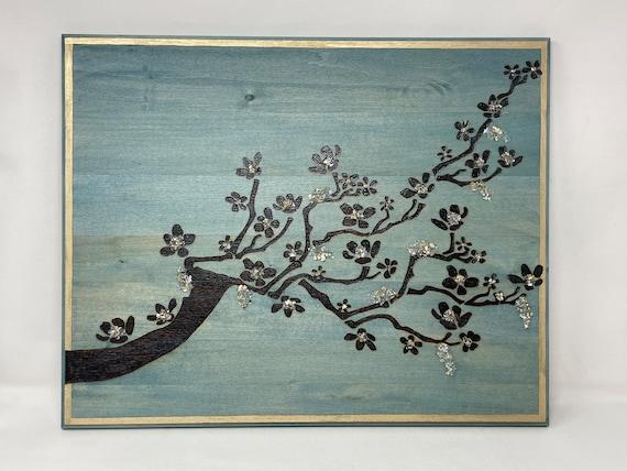 Cherry Blossom Motif wall art, Contemporary art, elegant wall art.
