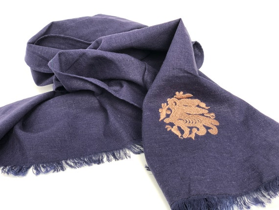 The Arabesque's Fine Linen Bunny Scarf. All-Year Stylish Handmade Scarf With Embroidered Medieval Arabesque Hare