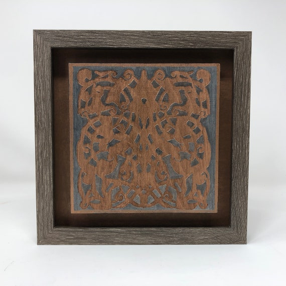 """The Arabesque® Silver and Gold Tone Wooden 8"""" x 8""""  Shadow Box Frame With Engraved and Handpainted Arabesque Plaque - Medieval Mamluk Design"""