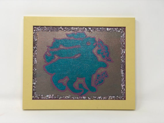 The Arabesque® Medieval Bunny Framed Wall Hanging or Shelf Art With Handpainted and Decorated Canvas of 11th Century Fatimid Hare Motif