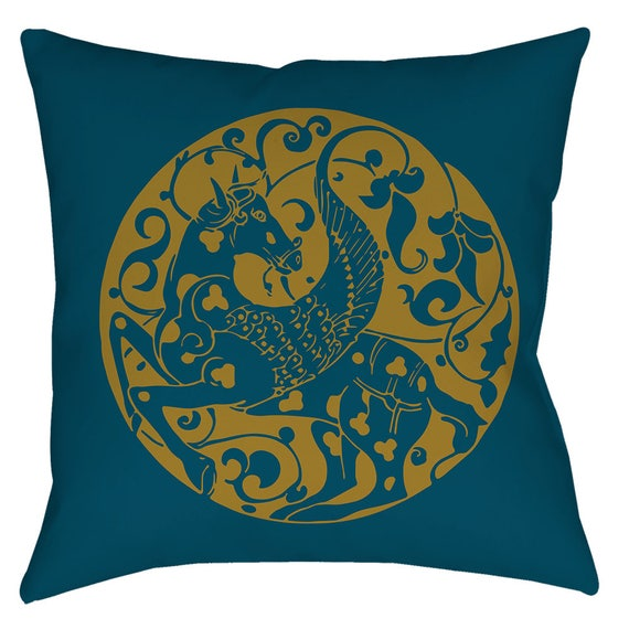 The Arabesque's Pegasus Winged Horse 18 x 18 Inch Pillow In Teal Blue And Gold Print