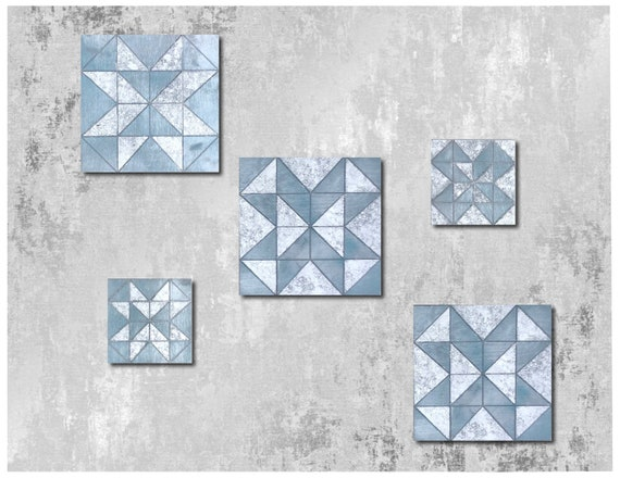 The Arabesque® Wooden and Modern Geometric Square Tile Wall Hanging (Set of 5). 3 Squares 11.5 x 11.5 inches and 2 Squares 8 x 8 inches