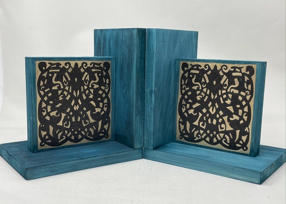 The Arabesque® Mamluk Style Home Decor Wooden Bookends With Woodburned Arabesque Pattern And Medieval Islamic Artwork Design