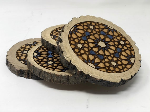 The Arabesque® Natural Wood Coaster Set (of 4) with Laser Engraved Medieval Geometric Pattern (Ask about Wholesale Pricing)