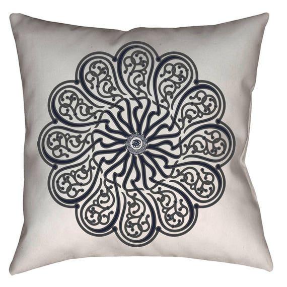Zen Collection Indigo and Gray Arabesque Calligraphic Design Decorative Throw Pillow