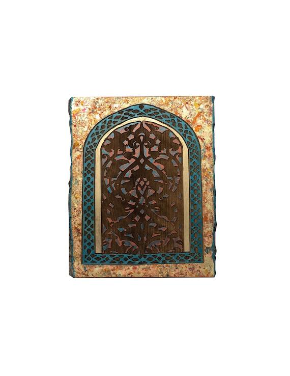 The Arabesque® Elegant Wooden Wall Art - Medieval Fatimid Arabesque Window Pattern From the al-Jami al-Anwar the (Al-Hakim Mosque) in Cairo