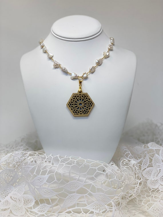 """The Arabesque® Medieval Geometric Pattern Wooden Pendant with Natural Pearl and 24k Goldplated 24"""" Necklace"""