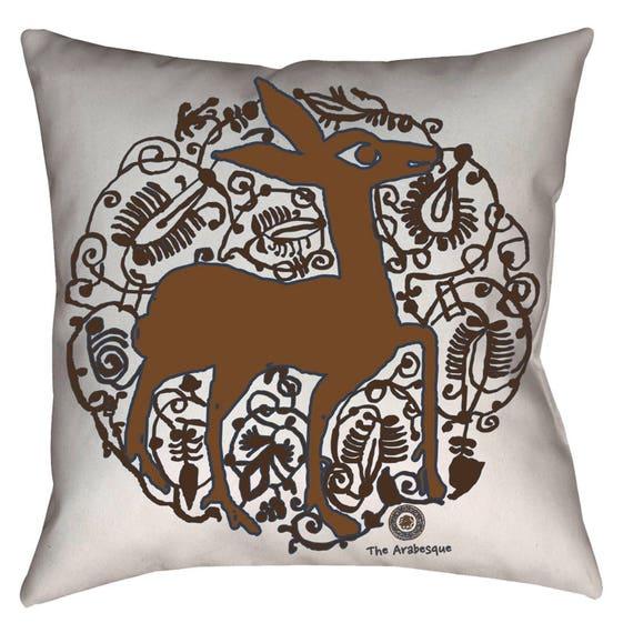 Valencian Pizzazz - Medieval Spanish Deer Arabesque Design Home Decor Animal Print Pillow By The Arabesque