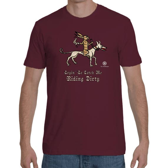 Riding Dirty Medieval Themed Premium Cotton T-Shirt For Men Inspired From The Marginalia Guillaume Durand's Pontifical - Bunny Knight