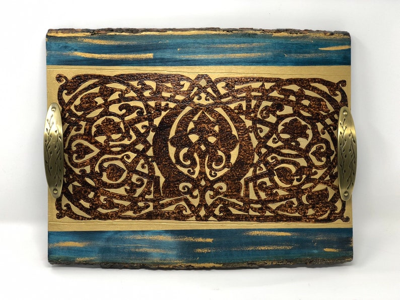 Medieval Themed Wooden Decorative Coffee Table Tray With Etsy