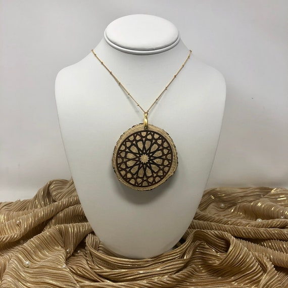 The Arabesque® Medieval Style Etched Geometric Pattern Wooden Pendant on Natural Wood Slice with 14k Goldplated Necklace