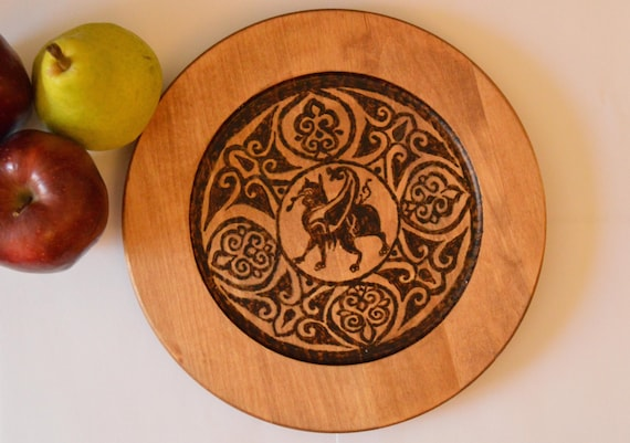 """Natural Wood Art On 9.5"""" Plate: Magic For Sale - Experience Fantasy and Luxury With This Woodburned 11th Century Fatimid Griffin Arabesque"""