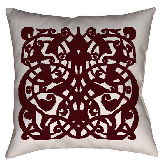 1389 - Medieval Mamluk Arabesque Pattern Printed Pillow 18 x 18 inches by The Arabesque (Dark Red)