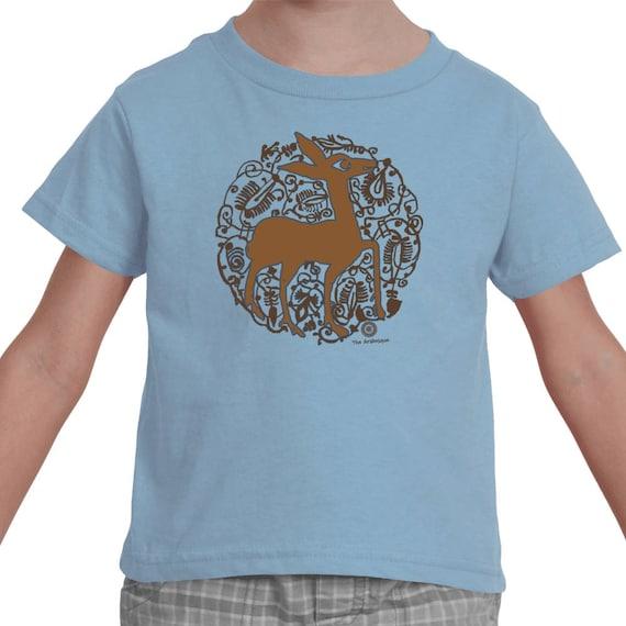 Pizzazz - Medieval Valencian Deer Arabesque Toddler Soft Cotton T-shirt