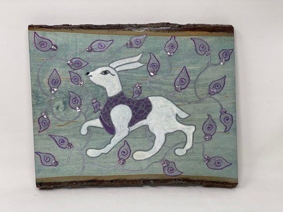 The Arabesque® White Rabbit Medieval 11th Century Fatimid Artistic Motif Wall Hanging