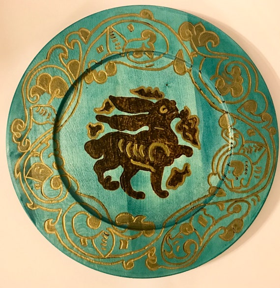 Turquoise Blue Wooden  Decorative Plate (11.5 inches) With Woodburned Medieval Fatimid Bunny Motif And Arabesque Pattern