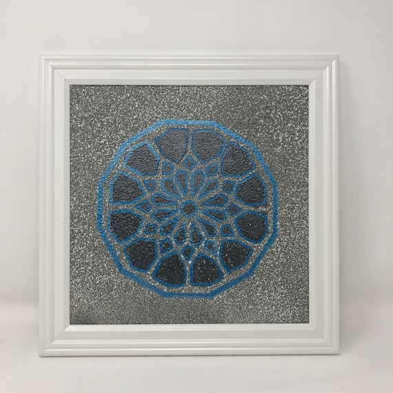 The Arabesque® Square Modern-Look Framed Wall Art With Stone-Look Finish Medieval Islamic Geometric Arabesque Pattern; Medieval Islamic Art