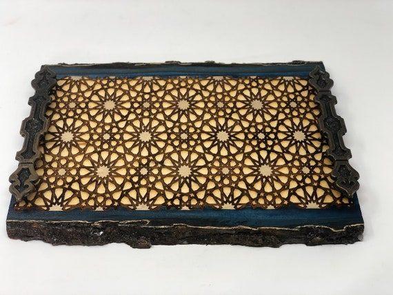 The Arabesque® Decorative Wooden Tray With Medieval Islamic Geometric Engraved Arabesque Pattern, Home Decor Coffee Table Tray, Ottoman Tray