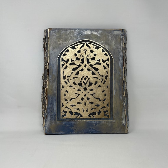 The Arabesque® 9 x 13 inch Wooden Wall Art - al-Anwar Mosque Hand-painted and Laser-etched Rustic Arabesque Window Pattern; Fatimid Art