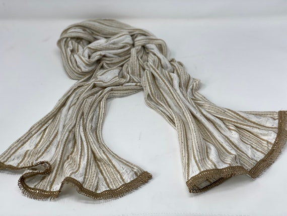 The Arabesque® Handmade Striped Scarf With Beautiful Antique Metallic Gold Trim - Day and Evening Wear Accessory