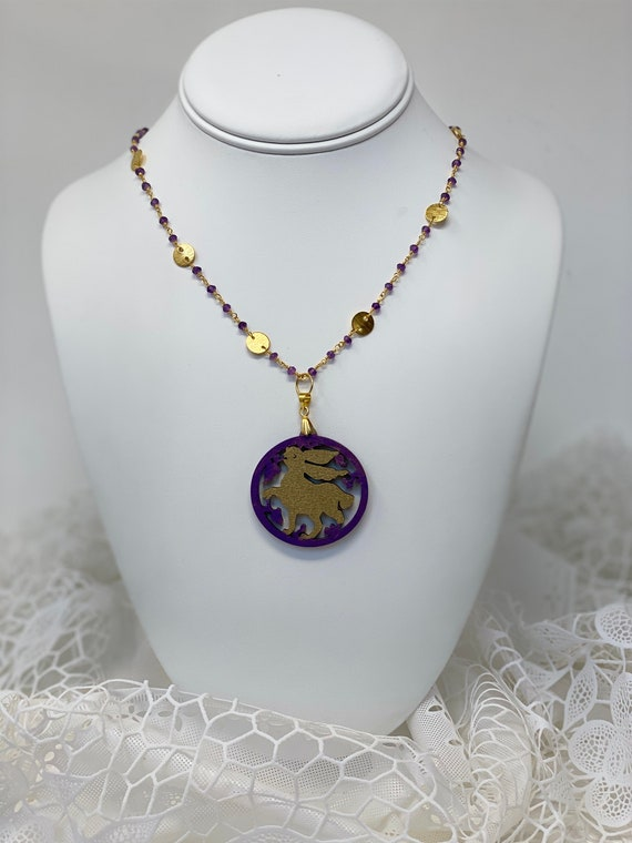 """The Arabesque® Wooden Engraved Medieval Fatimid Bunny Arabesque Woodcut Pendant with 30"""" Amethyst Bead 24k Gold-Plated Chain Necklace"""