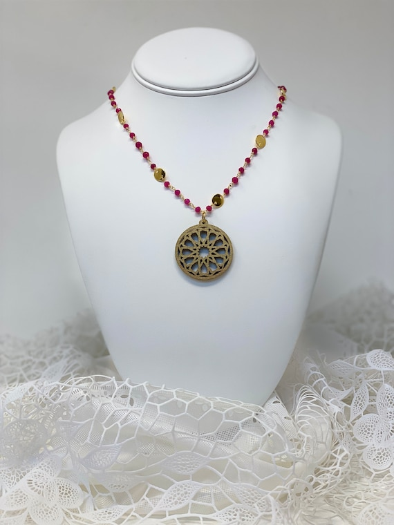 The Arabesque® Medieval Geometric Pattern Wooden Pendant with Ruby Stone 24k Goldplated Necklace