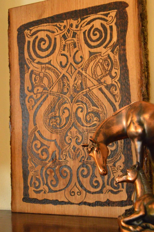 Wooden Wall Art Home Decor Medieval Art Horse Art
