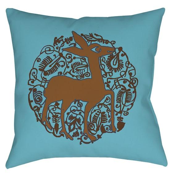Valencian Pizzazz - Light Blue Medieval Spanish Deer Arabesque Design Home Decor Animal Print Pillow By The Arabesque