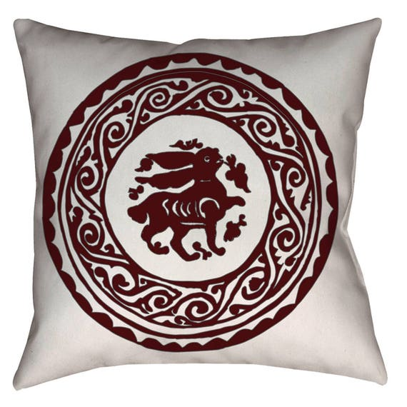 Arabesque Bunny Medieval Fatimid Design Home Decor Pillow (dark red and gray)