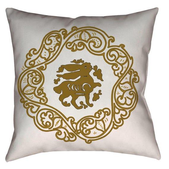 Arabesque Obsession - Bunny Medieval Art Design Home Decor Pillow