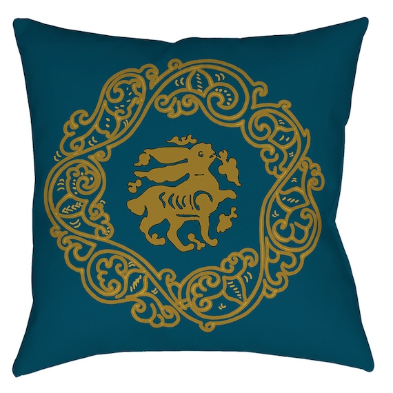 Arabesque Obsession - Teal Color Medieval Art Design Home Decor Bunny Pillow