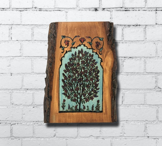 The Arabesque® Wooden Wall Hanging With Historic Mughal Style Tree of Life Design Wood-burned and Hand-painted on Live Edge Plaque