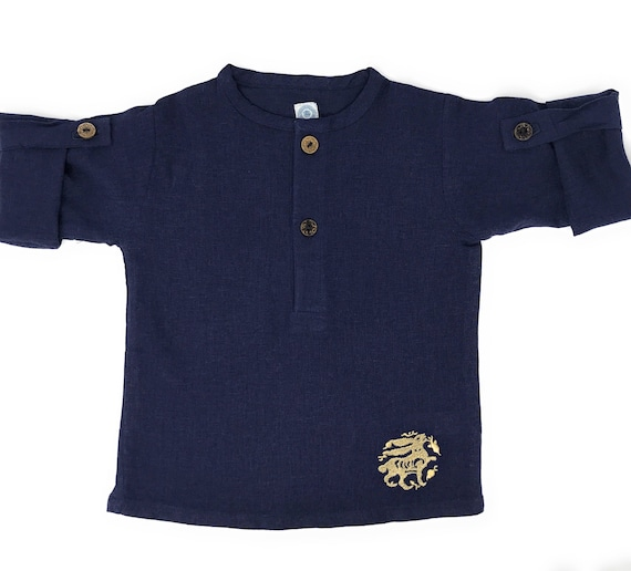 Navy Linen Blend Childrens Unisex Girls and Boys Button-up Tunic With Medieval Style Gold Embroidered Bunny Formal/Casual Perfect For Summer