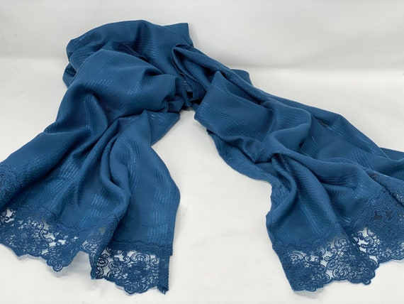 The Arabesque® Midnight Metallic Blue Handmade Scarf With Beautiful Lace Trim - Day and Evening Wear Accessory