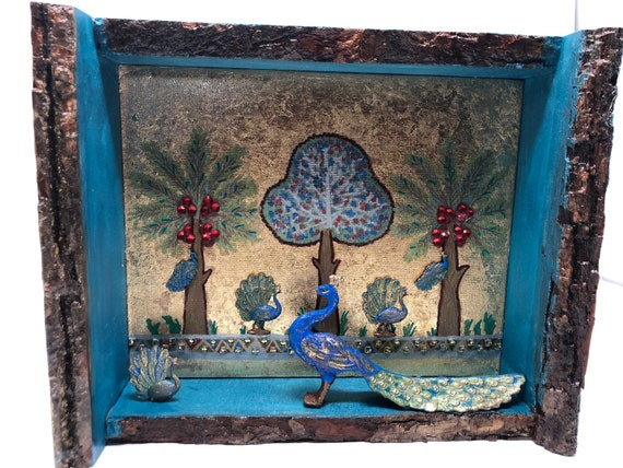 The Arabesque® Medieval Norman Sicily Peacock Garden Home Decor Shadowbox Inspired From The Throne Room of Roger II of Palermo; Medieval Art