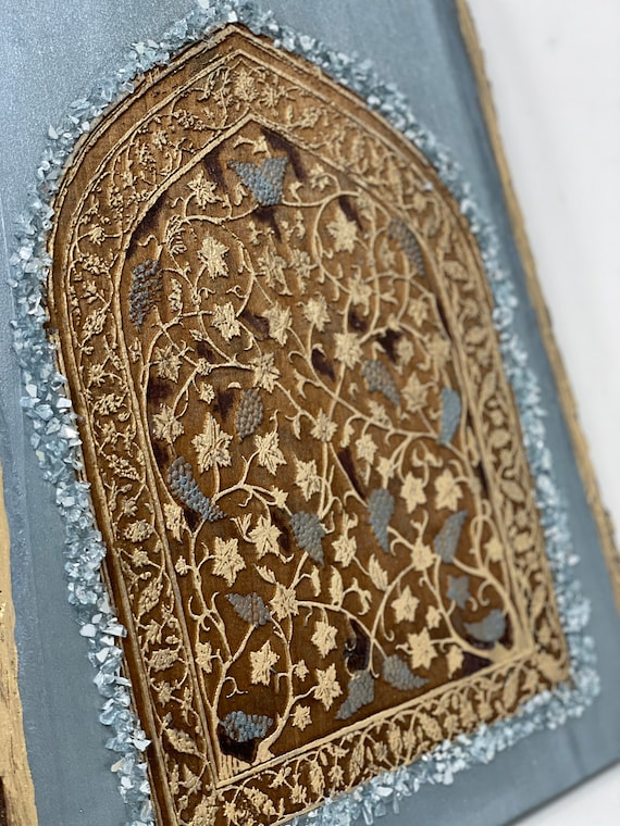 The Arabesque Mughal Style Vintage-Look Islamic Art Laser-etched Arabesque Floral Pattern Wall Hanging for Home or Office Decor