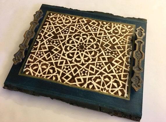 Decorative Tray; Coaster tray; Coffee table tray; Wooden Serving Platter; Geometric Arabesque; wood decor; Mamluk Art; Medieval Islamic Art;